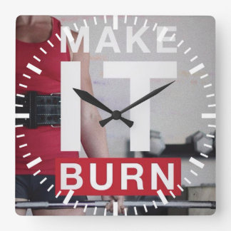 Motivational Fitness Gym Square Wall Clock