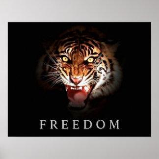 Motivational Freedom Roaring Tiger Poster Print