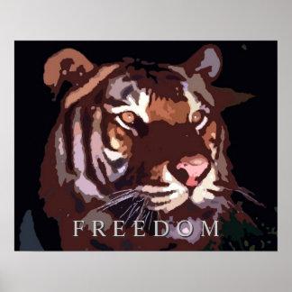 Motivational Freedom Tiger Eyes Poster Print