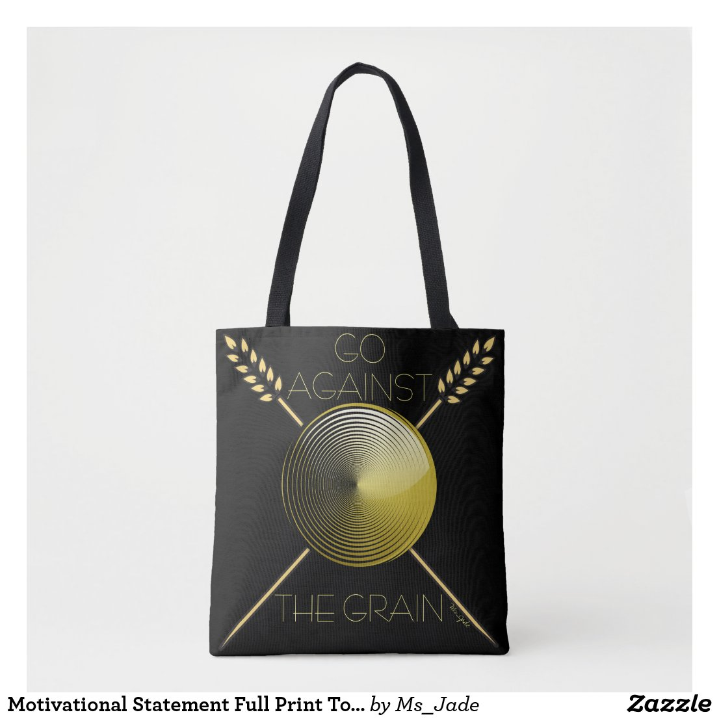 Motivational Full Print Tote Bag (Black)