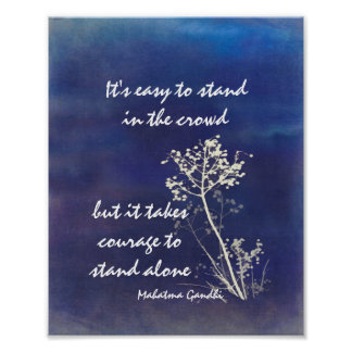 motivational Gandhi quote on blue and white Poster
