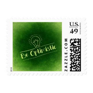 Motivational Green Be Optimistic Stamp