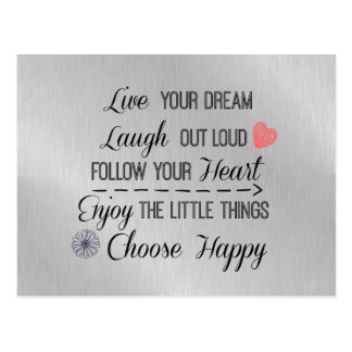 Motivational Happy Life Rules Quotes Postcard