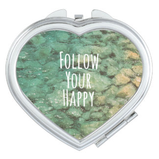 Motivational Happy Quote Compact Mirror