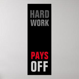 Motivational Hard Work Pays Success Black Red Grey Poster