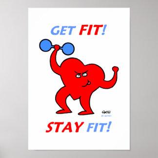 Motivational Heart Fitness Cartoon Gym Poster