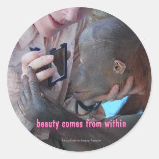 Motivational Inner Beauty Classic Round Sticker