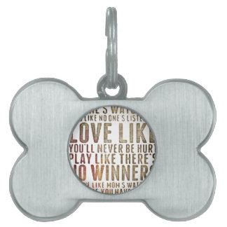 motivational inspirational pet tag