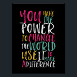 "Motivational Inspirational Quote Typography Poster<br><div class=""desc"">Cool and awesome motivational and inspirational quote poster. You have the power to change the world. Use it to make a difference. Background color can be customized to your desired color.</div>"
