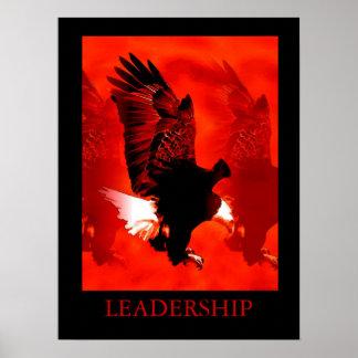 Motivational Leadership Black Red Eagle Poster