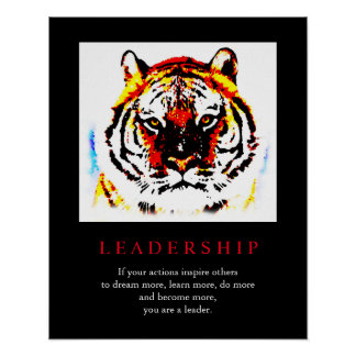 Motivational Leadership Pop Art Tiger Poster
