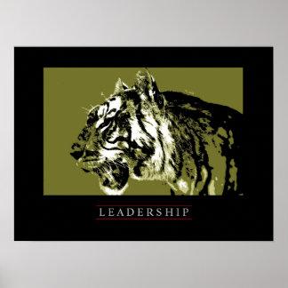Motivational Leadership Tiger Face Poster Print