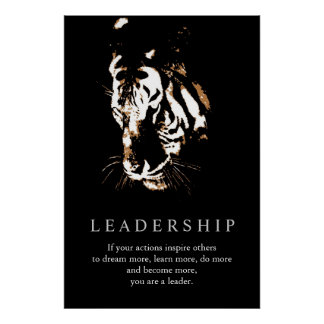 Motivational Leadership Tiger Pop Art Poster