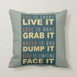 Motivational Life Advice throw pillow