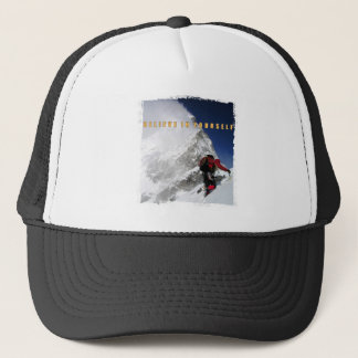 Motivational mountain climber trucker hat
