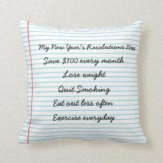Motivational New Year Resolutions Customized Goals Throw Pillow