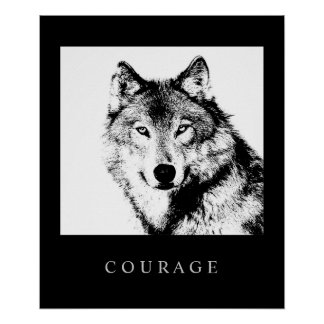 Motivational Pop Art Courage Wolf Poster Print