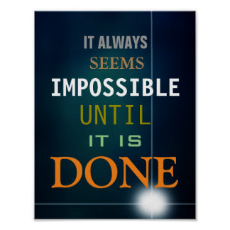 Motivational Possibility Quote Blue Poster Print
