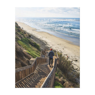 Motivational Poster - running stairs Stretched Canvas Prints