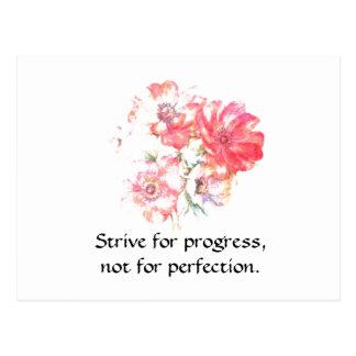 "Motivational ""Progress"" Floral Quote Postcard"