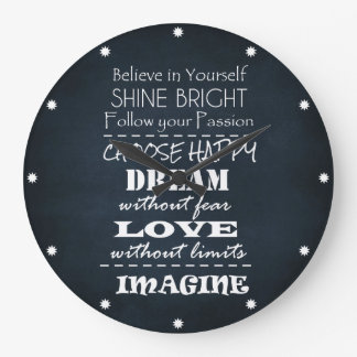 Motivational Quote Affirmations Large Clock