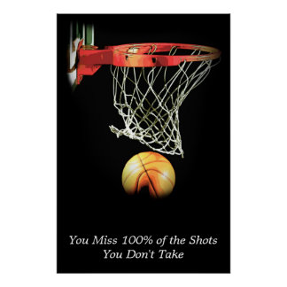 Motivational Quote Basketball Sport Poster