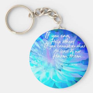 Motivational quote in  blue flower basic round button keychain