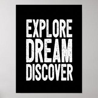 Motivational Quote Poster Explore Dream Discover