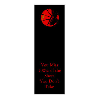 Motivational Quote Red Black Basketball Poster