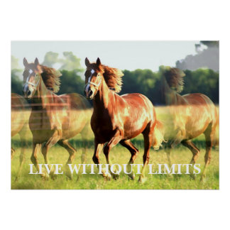 Motivational Running Horse Live Without Limits Poster