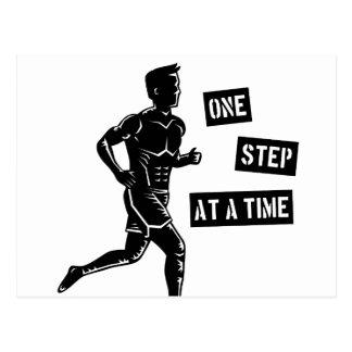 Motivational Running Quote Black Postcard