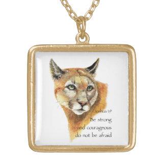 Motivational Scripture Joshua Cougar Animal art Gold Plated Necklace