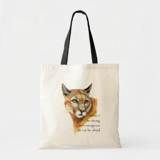 Motivational Scripture Joshua Cougar Animal art Tote Bag