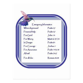 Motivational Scripture List for Emergency Postcard