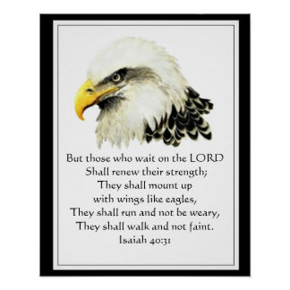 Motivational Scripture Waiting on the Lord Eagle Poster