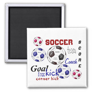 Motivational Soccer Game, Sports Words 2 Inch Square Magnet