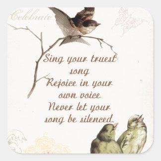 Motivational Song Birds Square Sticker