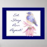 Motivational Sport Quote Bluebird Bird Garden Posters