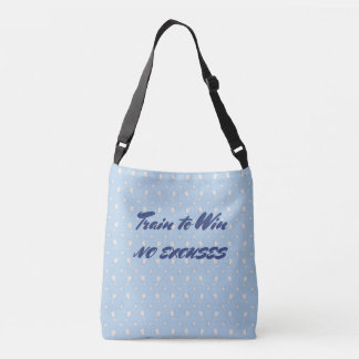 Motivational sports trophy custom text blue crossbody bag