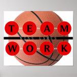 Motivational TEAMWORK Wins Games Basketball Poster