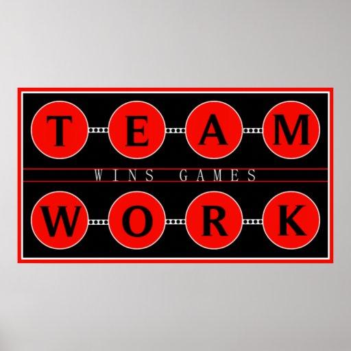 Motivational Teamwork Wins Games Poster