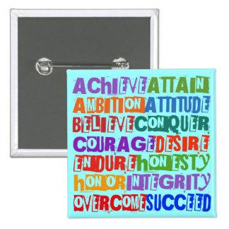 Motivational Text Pinback Buttons