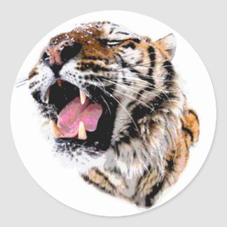Motivational Tiger Face Classic Round Sticker