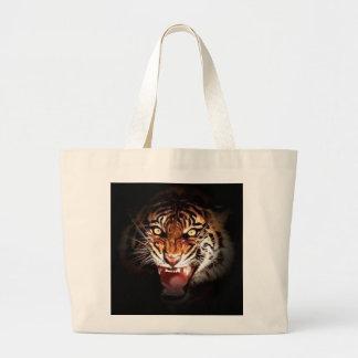 Motivational Tiger Face Large Tote Bag