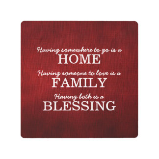 Motivational Typography Family Quote Metal Photo Print