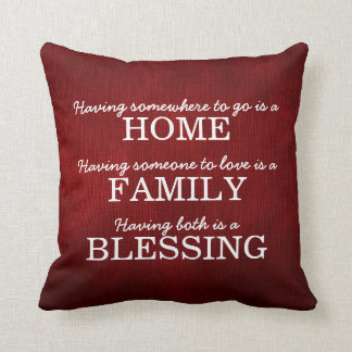 Motivational Typography Family Quote Pillow