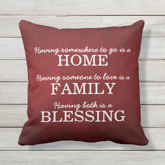 Motivational Typography Family Quote Throw Pillow
