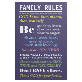 Motivational Typography | Home Sign | Family Rules