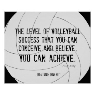 Motivational Volleyball Print 014 Black and White