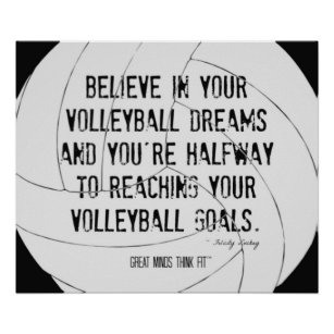 Motivational Volleyball Print 020 Black and White